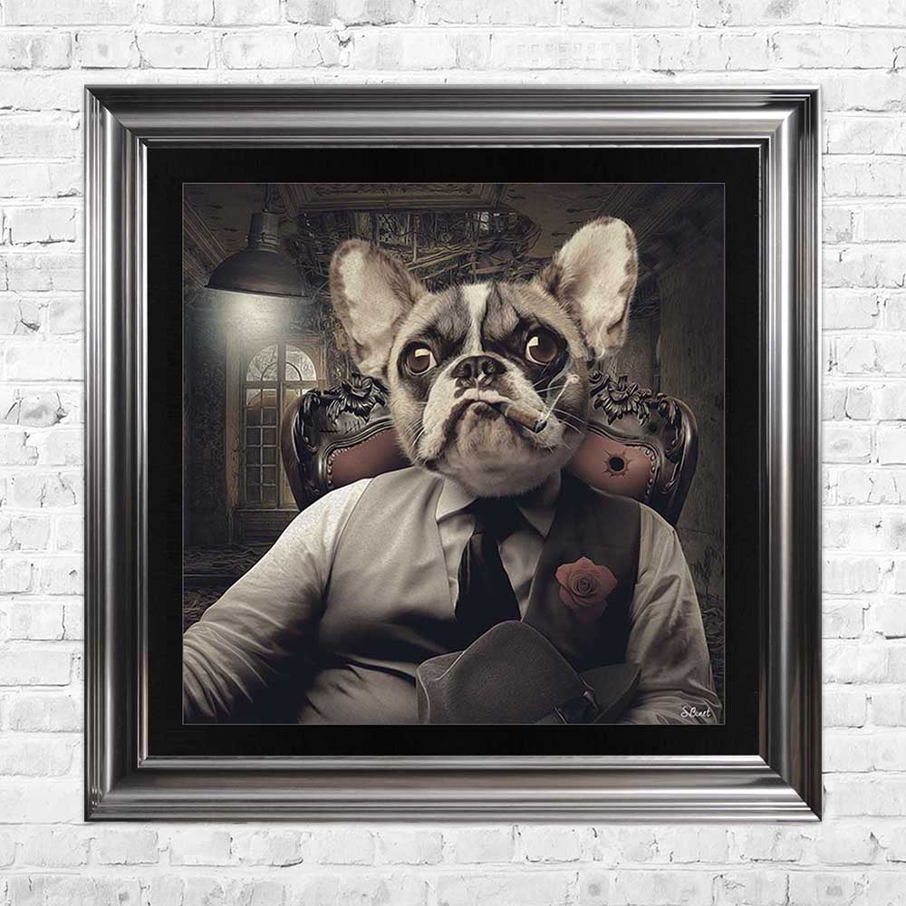 sylvain binet frenchie french bulldog mafia framed art