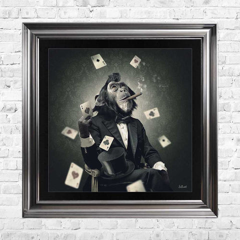 sylvain binet monkey boss cards poker framed art
