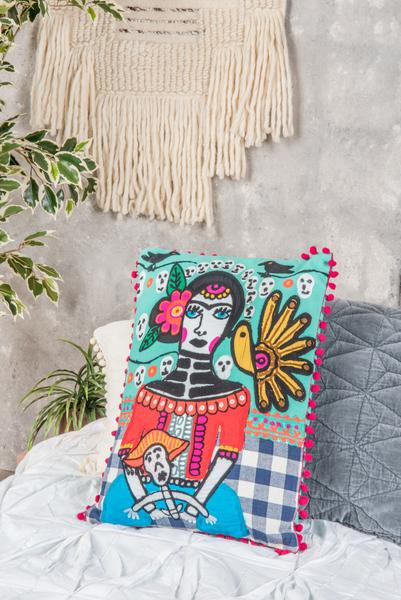 Frida Kahlo Day of the Dead Rectangular Filled Cushion - Fair-trade