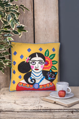 Frida Kahlo yellow embroidered Filled Cushion- Fair-Trade