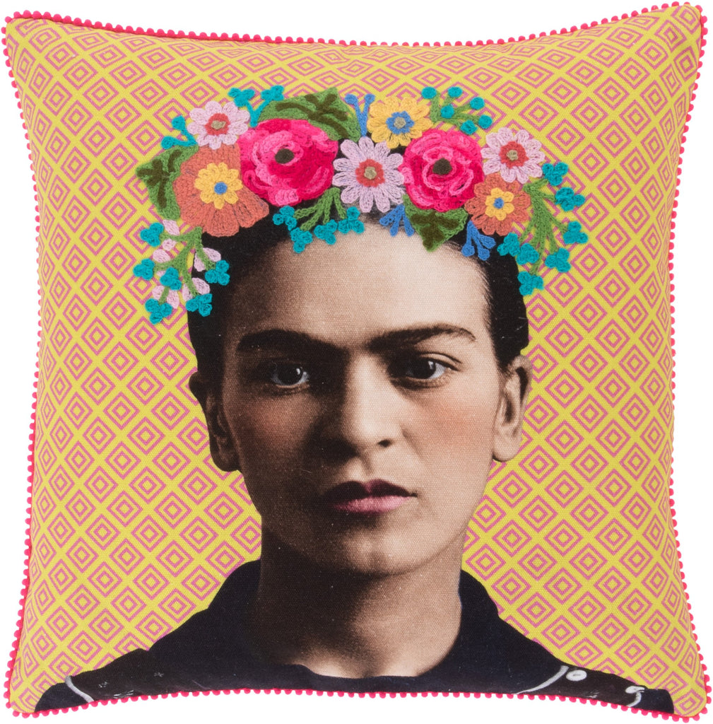 Frida Kahlo pink/yellow Filled Cushion- Fair-Trade