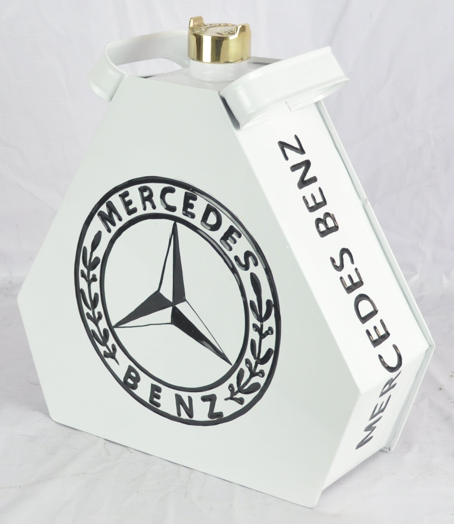 Retro Hand Painted Mercedes Advertising Aluminium Oil Petrol Jerry can