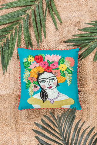 Green Frida Kahlo floral filled cushion- Fair-Trade