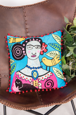 Frida Kahlo Day of the Dead Filled Square Cushion - Fair-trade