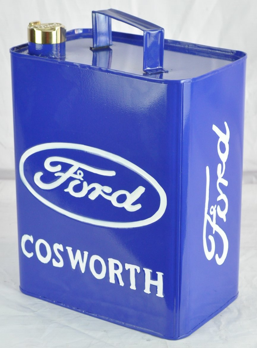 Retro Hand Painted Ford Cosworth Advertising Aluminium Oil Petrol Jerry can