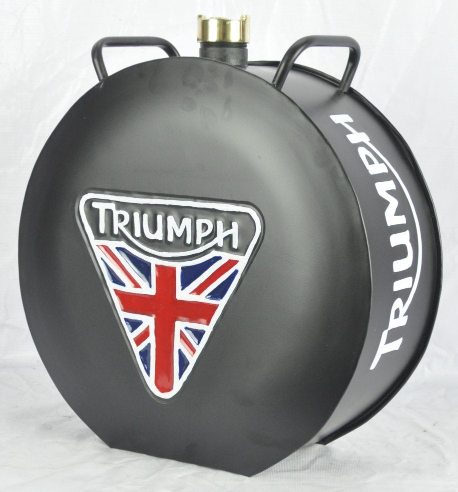 Retro Hand Painted Triumph Motorcycle Advertising Aluminium Oil Petrol Jerry can
