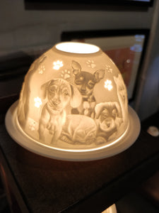 Authentic Dogs German Ceramic Tea Light Dome Candle