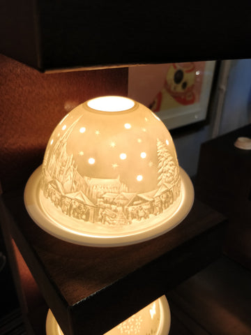 Authentic Christmas Market German Ceramic Tea Light Dome Candle