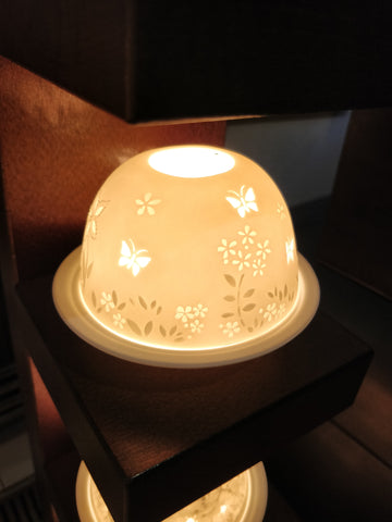 Authentic Butterflies German Ceramic Tea Light Dome Candle