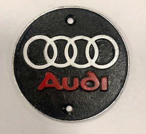 Audi badge cast iron sign