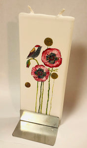 Chritsmas Poppies Bird Flatyz Handmade Decorative Flat Candles