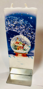 Christmas Snow Globe Flatyz Handmade Decorative Flat Candles