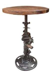 Industrial Iron stool / Side Table with wooden Top  - Adjustable / Mechanical