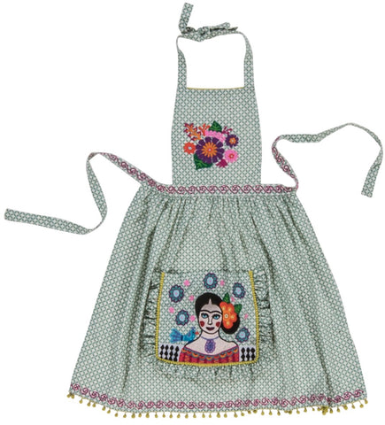 Green Frida Kahlo Embroidered Apron