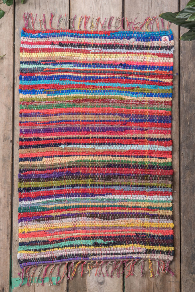 Multicoloured hand woven Rag Rug - Fairtrade