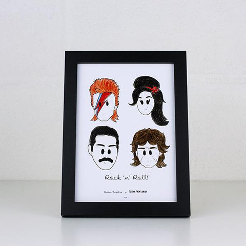 UK Ikons Print - rockers - Amy Winehouse, Freddie Mercury, David Bowie, Mick Jagger