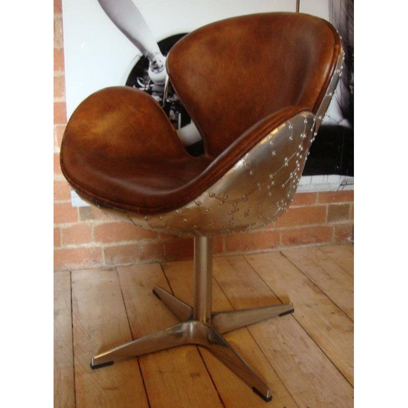 Aviation Brown Leather & Metal Chair