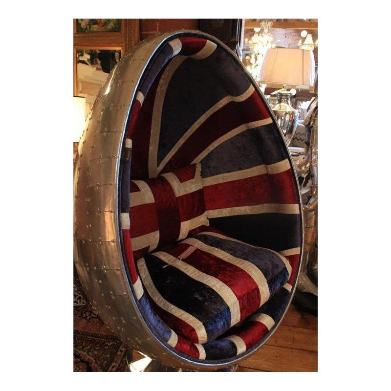 Aviation Union Jack Fabric & Aluminium Egg Chair