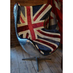 Aviator Aluminium Chair with Union Jack Fabric