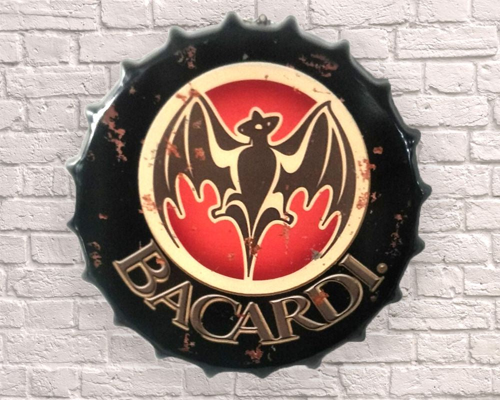 bacardi giant metal hanging bottle top