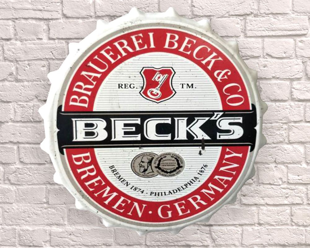 becks giant metal hanging bottle top