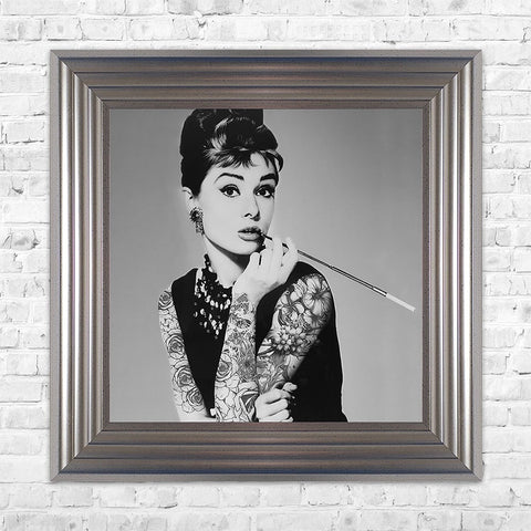 Swarovski Crystals Audrey Hepburn Liquid Art Tattoos Biggon Framed Print Artwork Picture