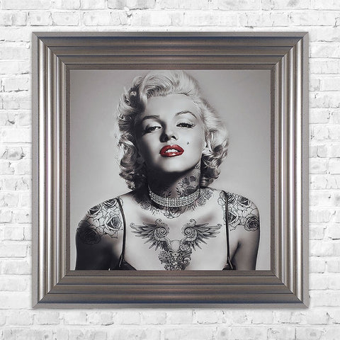 Swarovski Crystals Marilyn Monroe Liquid Art Tattoos Biggon Framed Print Artwork 68 x 68 Picture