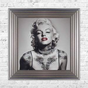 Swarovski Crystals Marilyn Monroe Liquid Art Tattoos Biggon Framed Print Artwork 55 x 55 Picture