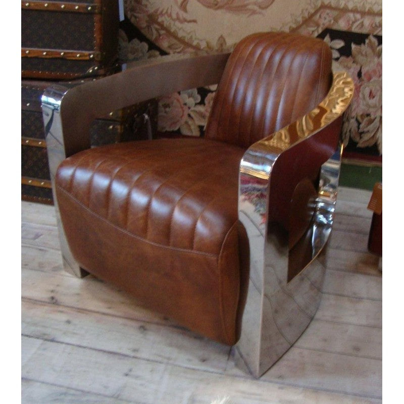 Brown Leather & Stainless Steel Armchair