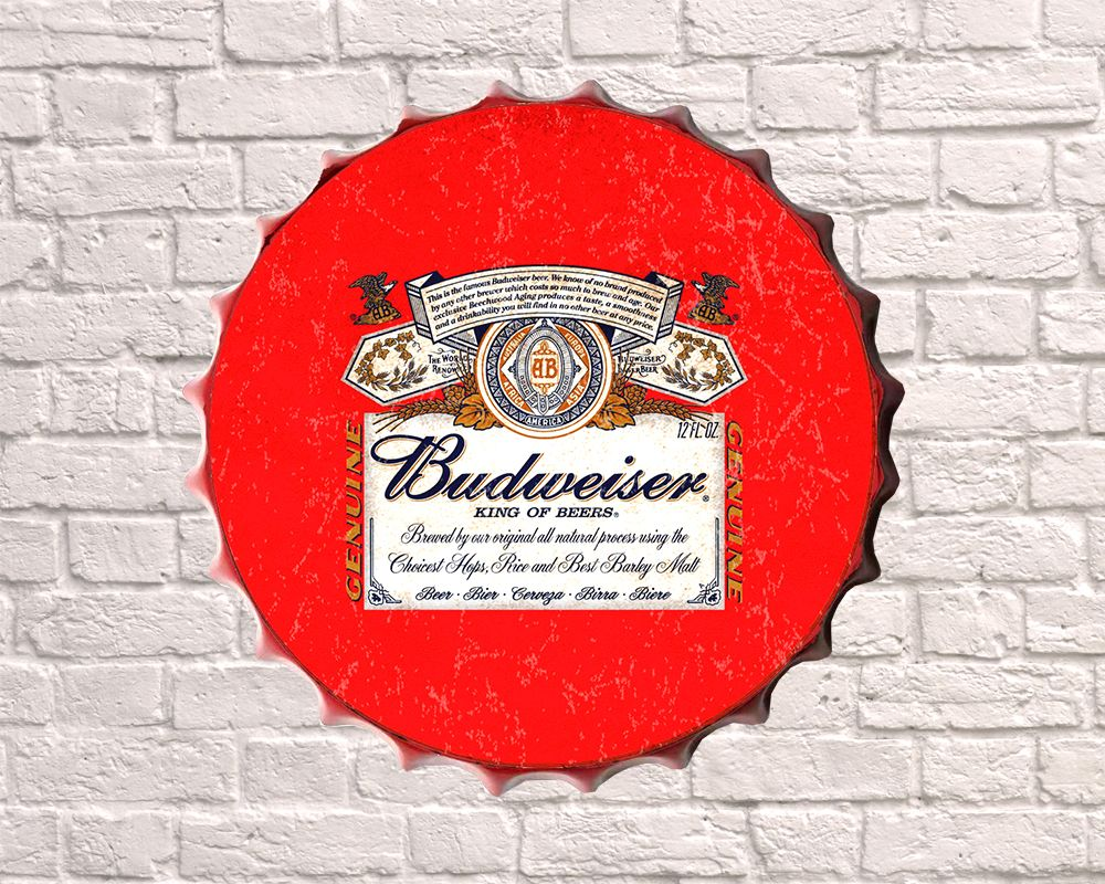 budweiser giant metal hanging bottle top