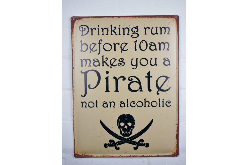 Pirate Drinking Rum Sign