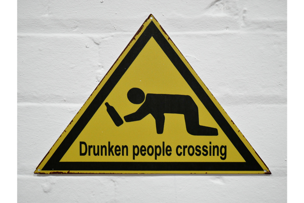 Drunken People Crossing Warning Sign