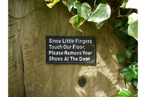 Cast Iron Sign Remove Shoes