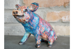 Colourful Paint splat Pig Ornament