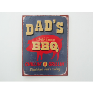 Dads BBQ chillin n grillin metal sign