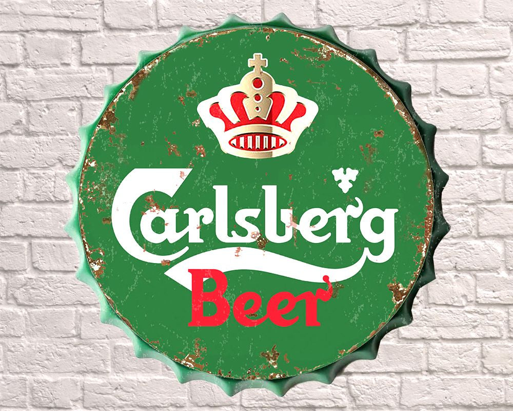 carlsberg giant metal hanging bottle top
