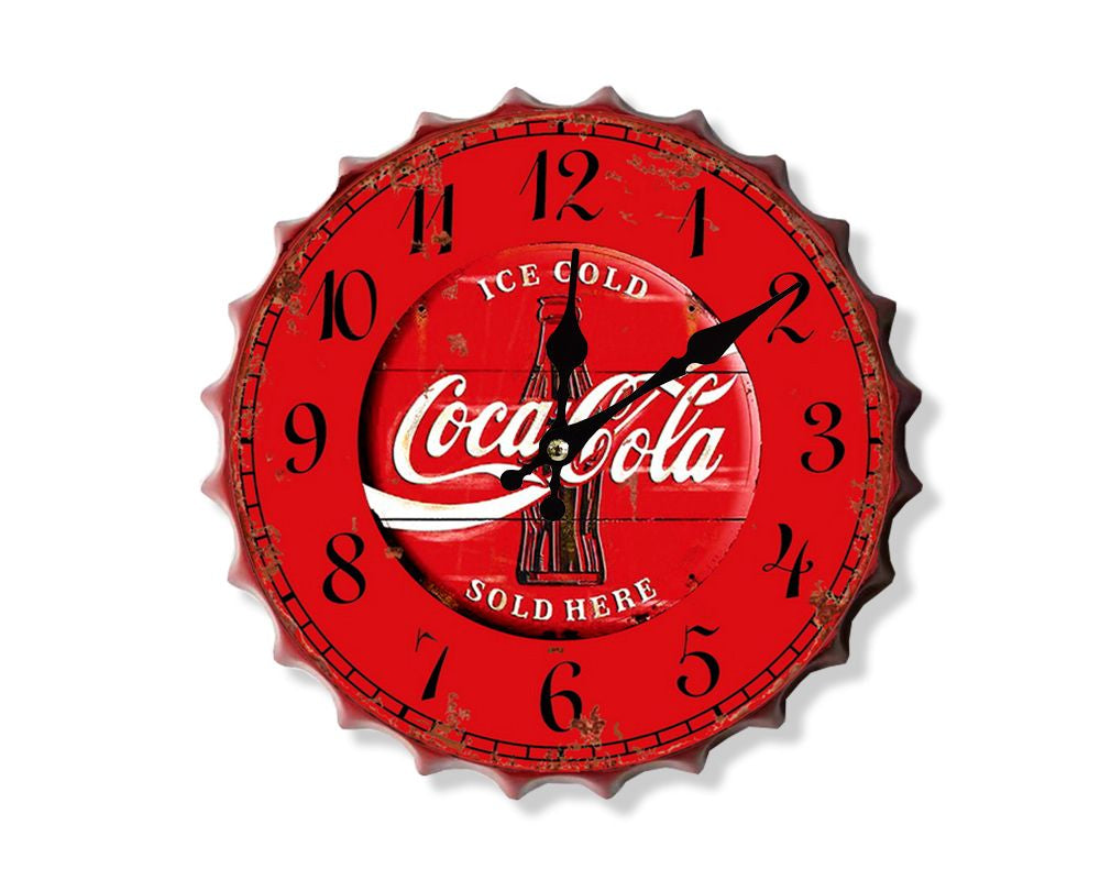 Coca Cola Sold Here Bottle top Clock 30cm