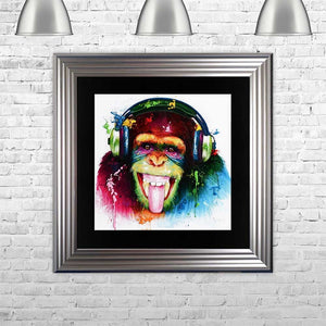 Murciano DJ Monkey Framed Liquid Art Picture Silver frame