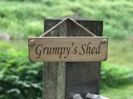 Grumpy's Shed Solid Wood Roped Sign