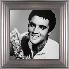 Elvis Presley Liquid Art Tattoos Biggon Silver Framed Print Artwork Picture