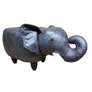 Faux leather/suede animal friendly footstool - dark grey elephant