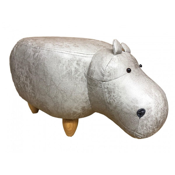 Faux leather/suede animal friendly footstool - light grey hippo