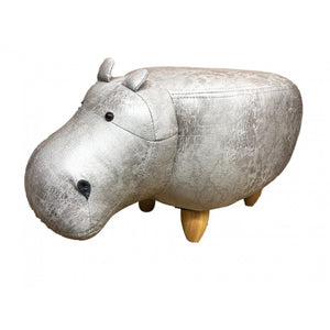Faux leather/suede animal friendly footstool - light grey hippo Stool