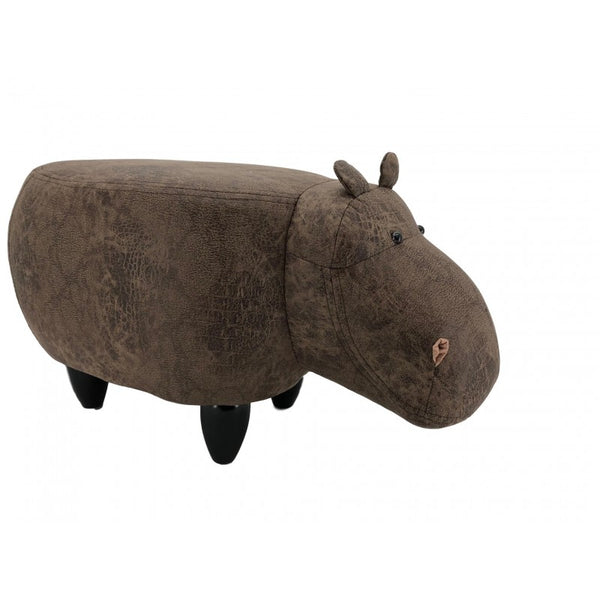 Faux leather/suede animal friendly footstool - dark brown hippo