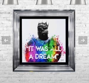 Biggie smalls notorious BIG Liquid Crystal Artwork Picture Chrome Frame