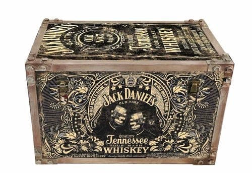 Jack Daniels JD strapped chest storage trunk