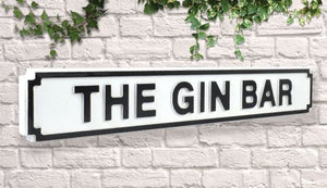 The Gin Bar Vintage style wooden street garden bar sign