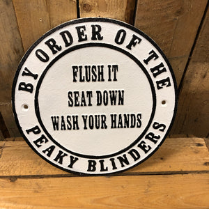 Peaky blinders heavy cast iron sign Flush it seat down
