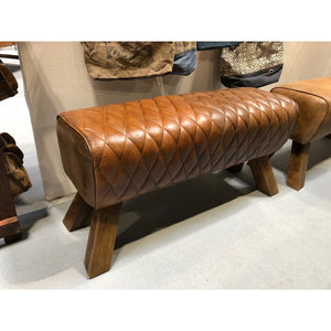 Brown Quilted Leather pommel horse style  bench