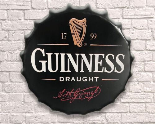 guinness giant metal hanging bottle top